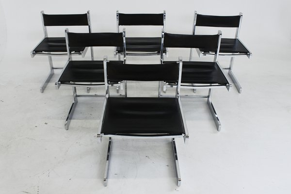 Mid Century Modern Chrome Dining Chairs Set Of 6 1