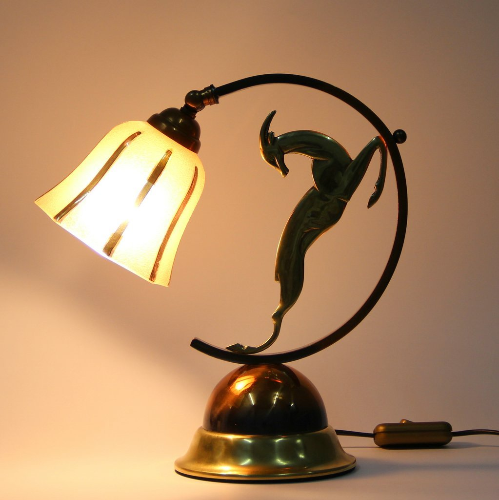 Art Deco French Brass Copper And Bronze Table Lamp For Sale At Pamono