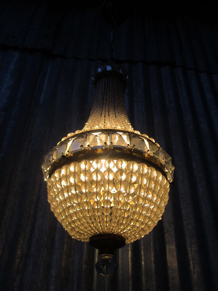 Vintage French Crystal Beaded Basket Chandelier For Sale At Pamono