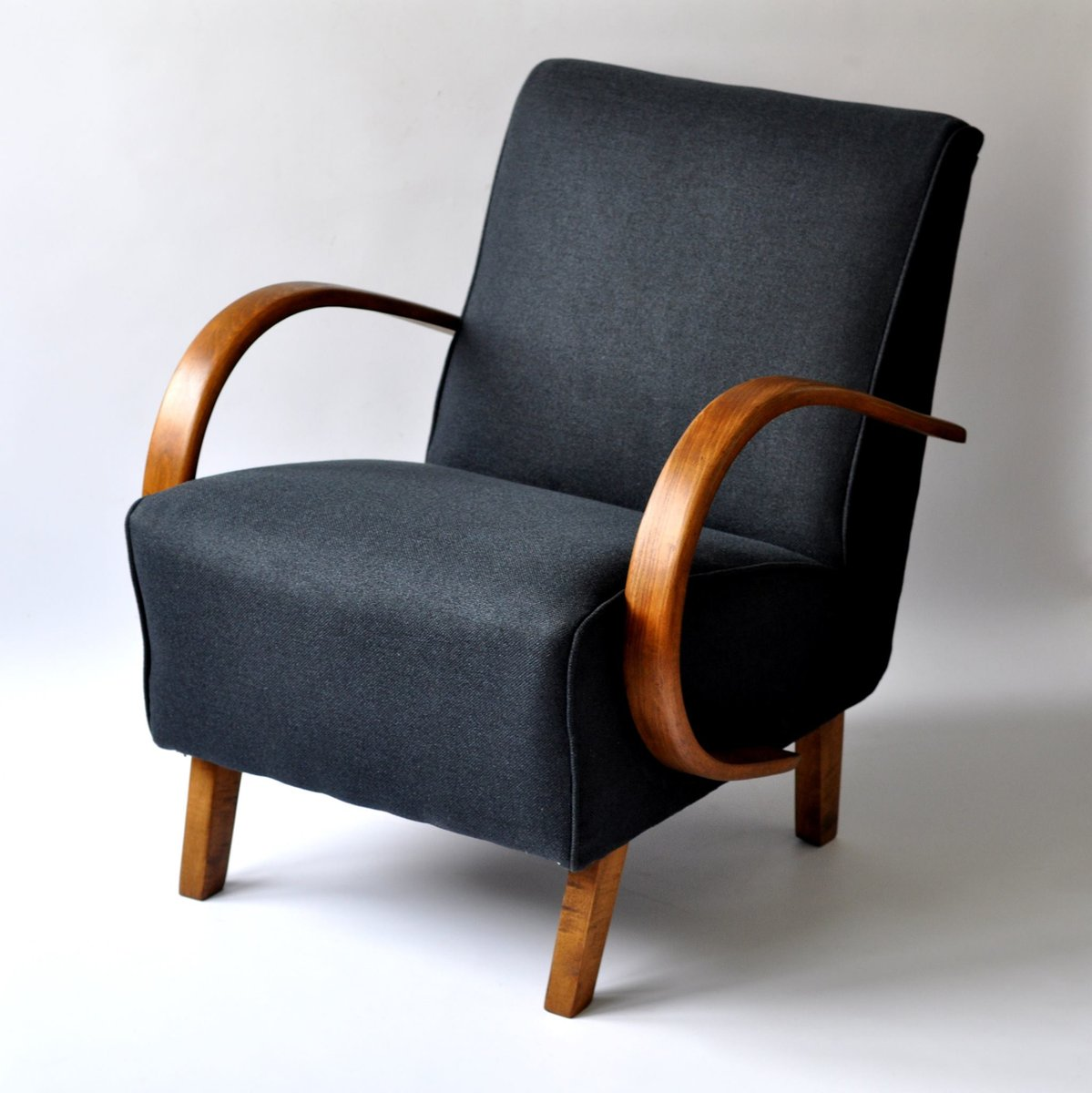 Navy Blue Armchair By Jindrich Halabala 1940s