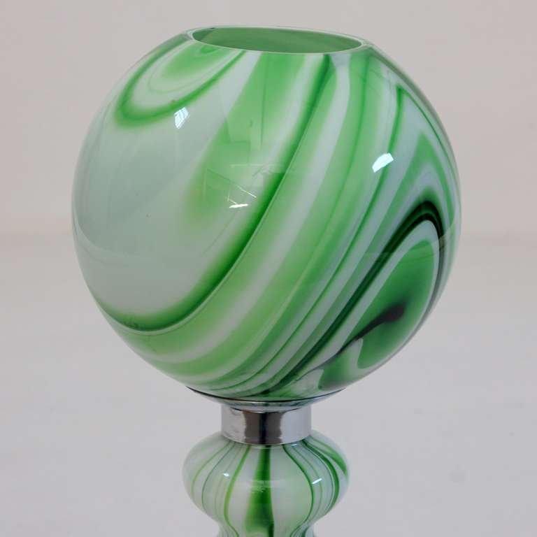 Green glass table