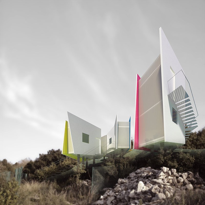 rendering of the guest house from theOtherDada's Garlic House project in Thoum, which aims to achieve the Living Building Challenge