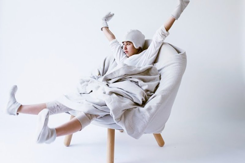 No Heater Winter Chair by Sarah King for Supercyclers. The supersoft, wool-covered chair was designed to provide enough warmth so that the heat needn't be turned on. The chair comes with a set of matching mittens, booties, and a soft helmet. The wool upholstery and cape were developed with Tasmania's Waverley Woollen Mills. Photo courtesy of Supercyclers.