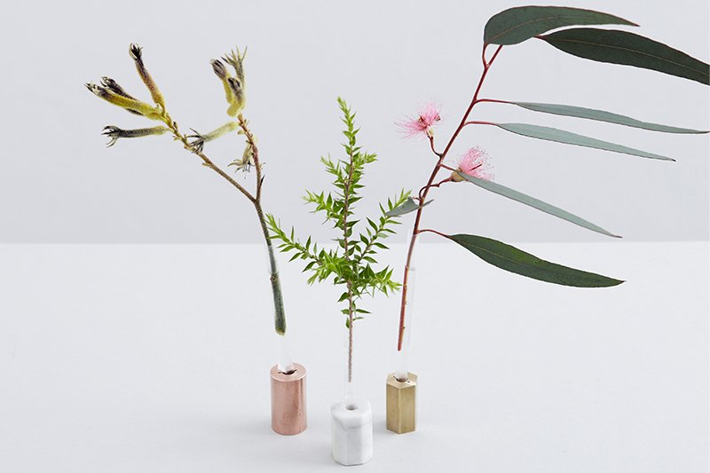 Superfused Vases by Sarah King for Supercyclers. By fusing a valuable material—such as brass, copper, or marble—with the discarded plastic of a drinking straw, a piece of waste is elevated into a precious functional object. Photo courtesy of Supercyclers.