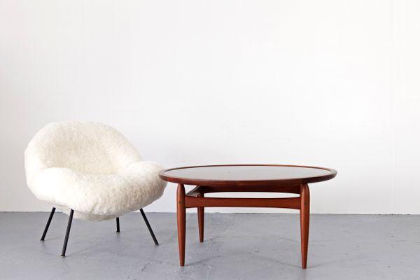 Deutsche Lounge Sessel mit Schafsfell von Fritz Neth, 1950er, 2er ...