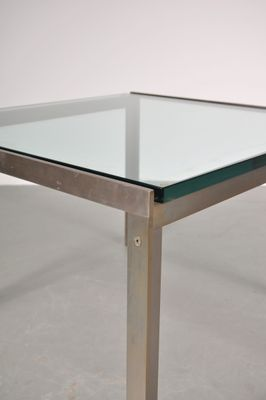 dutch square chrome & glass coffee table from metaform, 1960s for