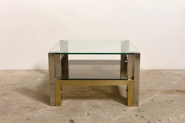 Two Tiered Brass Glass Coffee Table By Willy Rizzo