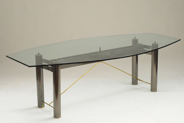 Vintage Glass And Steel Dining Table From Belgochrom 1