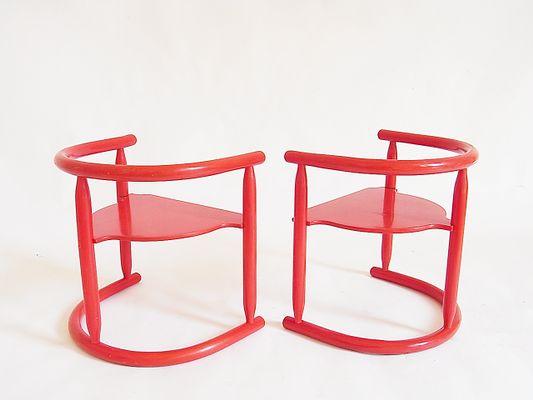 Rote Bugholz Kinderstühle von Anna Mobring für IKEA, 1963, 2er Set ...