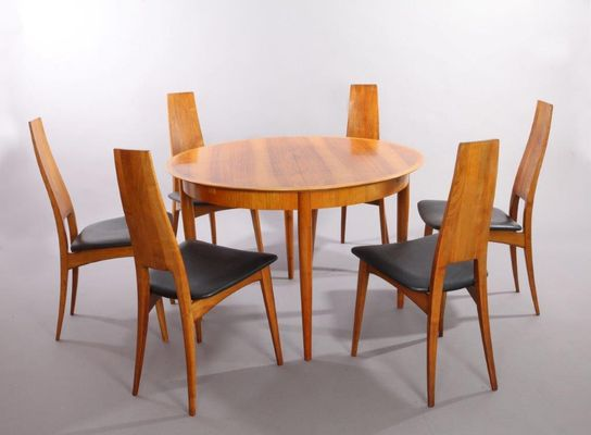 German Cherry Wood Extendable Dining Table With Six Chairs By Ernst Martin  Dettinger For Lübke,