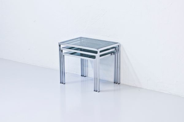 Chrome green glass nesting tables 1970s for sale at pamono chrome green glass nesting tables 1970s 2 watchthetrailerfo
