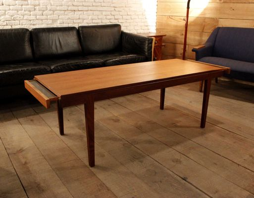 Mid Century Spanish Teak Coffee Table With Pull Out Trays 1
