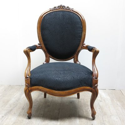 French Armchair With Black Upholstery, 1880s 2