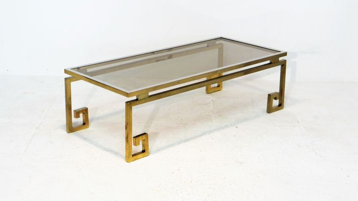 Vintage Gilded Chrome Greek Key Coffee Table 2