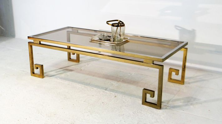 Vintage Gilded Chrome Greek Key Coffee Table for sale at Pamono