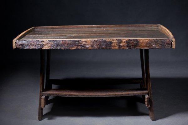 Vintage Oak Barrel Table 1