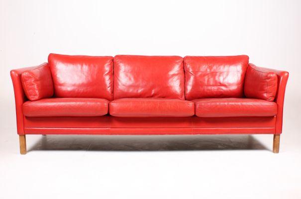 vintage danish threeseater red leather sofa from mogens hansen 1980s 1