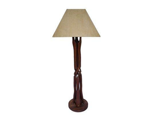Lampada da terra in legno intrecciata, anni \'50 in vendita su Pamono