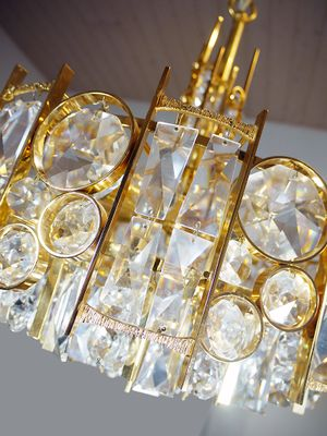 Gold Plated Hollywood Regency Crystal Chandelier from Palwa, 1960s ...