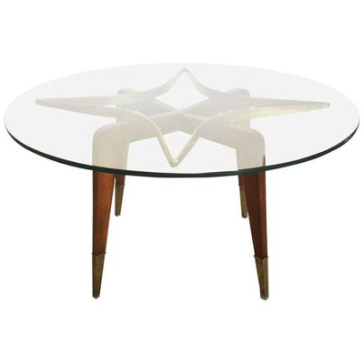 Vintage Glass, Brass, & Wood Coffee Table, 1950s 1 - Vintage Glass, Brass, & Wood Coffee Table, 1950s For Sale At Pamono