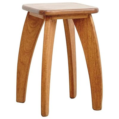 French Four-Legged Wooden Stool, 1950s 1