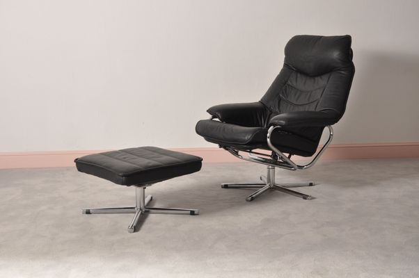 norwegian black leather recliner chair u0026 ottoman from skog haug industri - Black Leather Recliner Chair