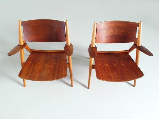 Carl Hansen Chairs ch-28 chairshans j. wegner for carl hansen, 1951, set of 2 for