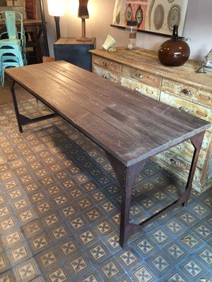 french industrial wood u0026 metal dining table 3