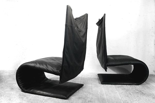 French Leather Zen Chairs By Claude Brisson For Ligne Roset, 1980s, Set Of 2