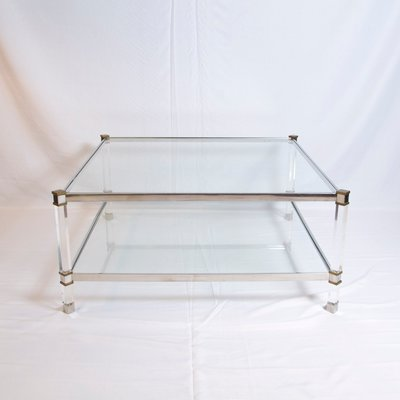 Vintage Two Tier Lucite, Brass, And Aluminum Coffee Table 2