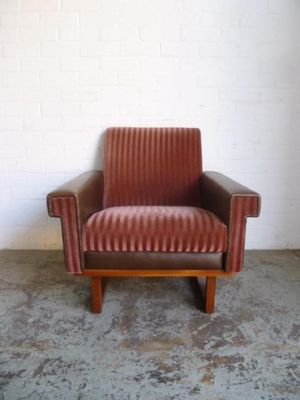Captivating Vintage Striped Armchair, 1960s 2