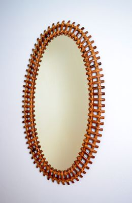 large french riviera style bamboo mirror 1950s 2