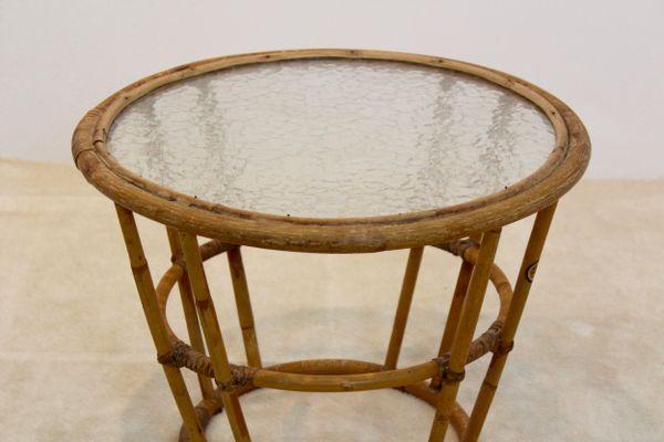 Vintage Wicker U0026 Glass Side Table From Rohé Noordwolde 4