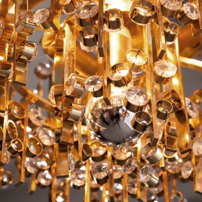 Five light gold plated brass and crystal chandelier from palwa five light gold plated brass and crystal chandelier from palwa 1960s 2 mozeypictures Image collections