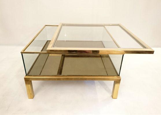 Vintage Italian Brass Sliding Top Coffee Table 1 - Vintage Italian Brass Sliding Top Coffee Table For Sale At Pamono