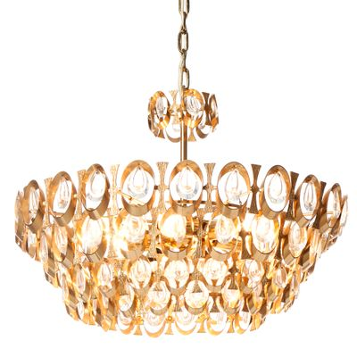 Eight-Light Gold-Plated Brass and Crystal Chandelier from Palwa ...