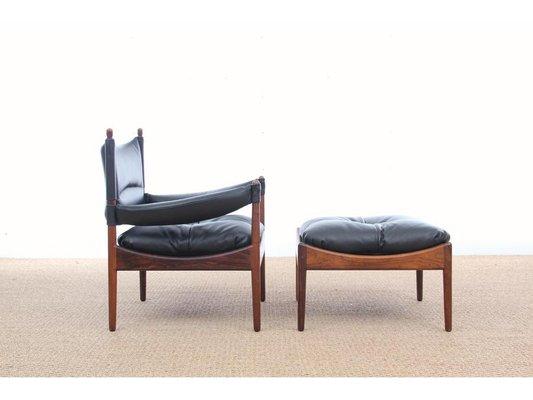 Mid Century Modern Danish Lounge Chair And Ottoman By Kristian Vedel For  Soren Willadsen,