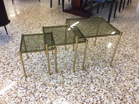 Brass And Smoked Glass Nesting Tables, 1960s 3