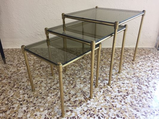 Beautiful Brass And Smoked Glass Nesting Tables, 1960s 1