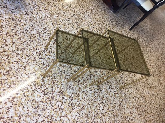 Brass And Smoked Glass Nesting Tables, 1960s 2