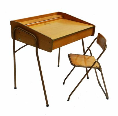 french midcentury childs desk and folding chair from brevete lallemand 1 - Childs Desk