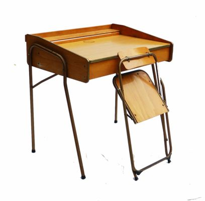 french midcentury childs desk and folding chair from brevete lallemand 5 - Childs Desk