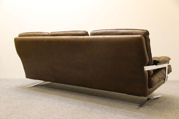 Danish Brown Buffalo Leather Sofa. Arne Norell 7