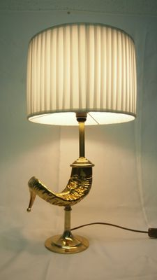 French Bronze Ram Horn Table Lamp From Maison Charles 1