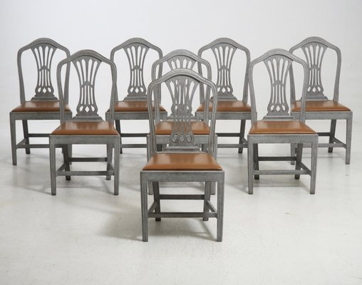 19th Century Chairs With Leather Seats, Set Of 8 1