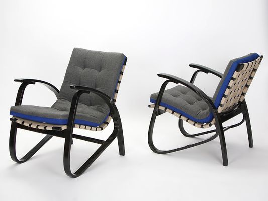 Vintage Blue U0026 Grey Armchairs By Jan Vanek, 1935, ...