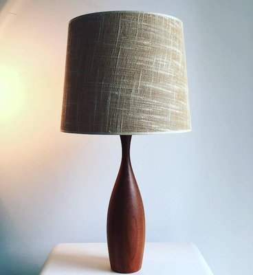 Mid Century Danish Teak Table Lamp With Original Jute Shade 1