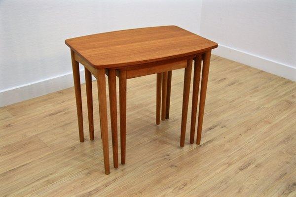 Danish Teak U0026 Oak Nesting Tables, 1960s 2