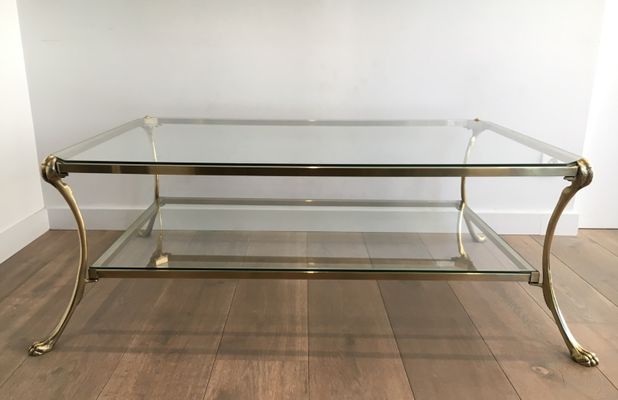 Large Vintage Brass Coffee Table With Claw Feet 1