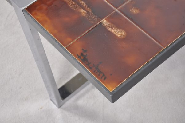 Coffee Table With Ceramic Tile Top By Juliette Belarti, 1960s 6